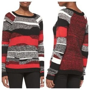 Milly Red Wool Knit Striped Colorblock Sweater S